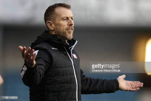 Millwall manager Gary Rowett holds his arms open in disbelief during the FA Cup Fourth Round match between Millwall and Sheffield United at The Den...