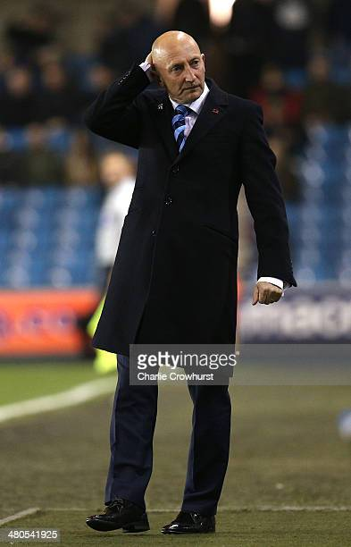 Millwall manager Ian Holloway looks on dejected after his team go close to scoring during the Sky Bet Championship match between Millwall and...