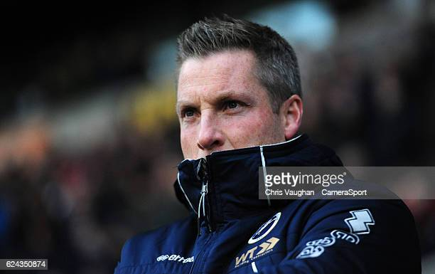 Millwall manager Neil Harris during the Sky Bet League One match between Bolton Wanderers and Millwall at Macron Stadium on November 19 2016 in...
