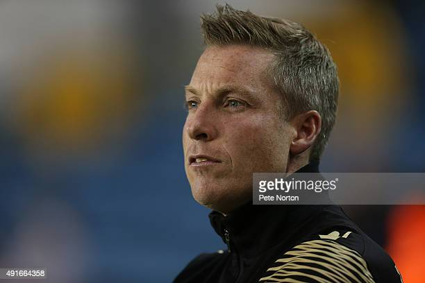 Millwall manager Neil Harris looks on during the Johnstone's Paint Trophy match between Millwall and Northampton Town at The Den on October 6 2015 in...