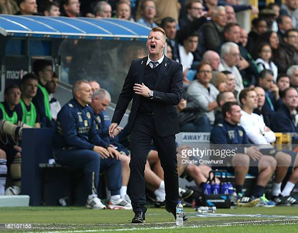 Millwall manager Steve Lomas gets irate on the touchline during the Sky Bet Championship match between Millwall and Leeds United at The Den on...