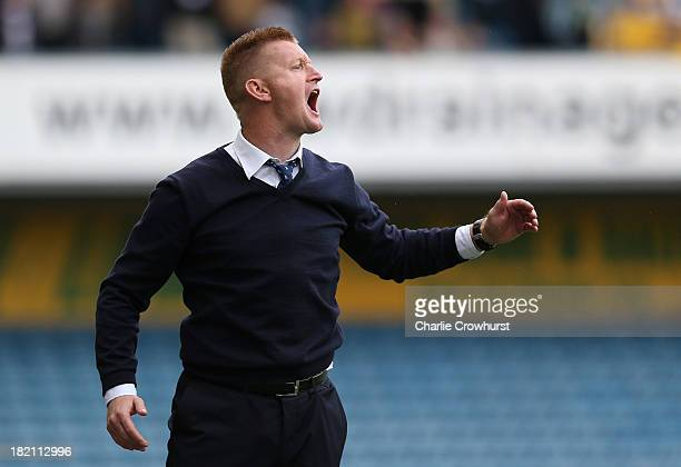 Millwall manager Steve Lomas reacts on the touchline during the Sky Bet Championship match between Millwall and Leeds United at The Den on September...
