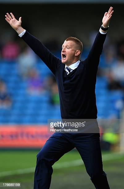 Millwall manager Steve Lomas reacts to a decision during the Sky Bet Championship match between Millwall and Huddersfield Town at The Den on August...