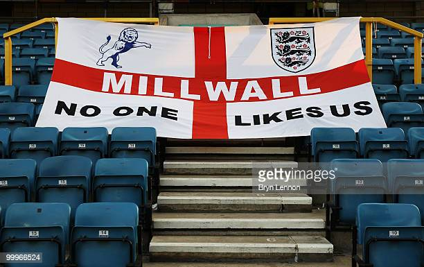 Millwall supporters flag is draped over some seats during the League One Playoff Semi Final 2nd Leg between Millwall and Huddersfield Town at The New...