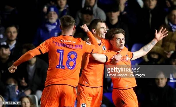 Millwall's Ben Thompson celebrates his side's first goal of the game with Jed Wallace and Ryan Tunnicliffe during the Sky Bet Championship match at...