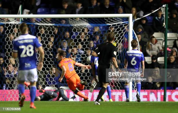 Millwall's Ben Thompson scores his side's first goal of the game during the Sky Bet Championship match at St Andrew's Trillion Trophy Stadium...