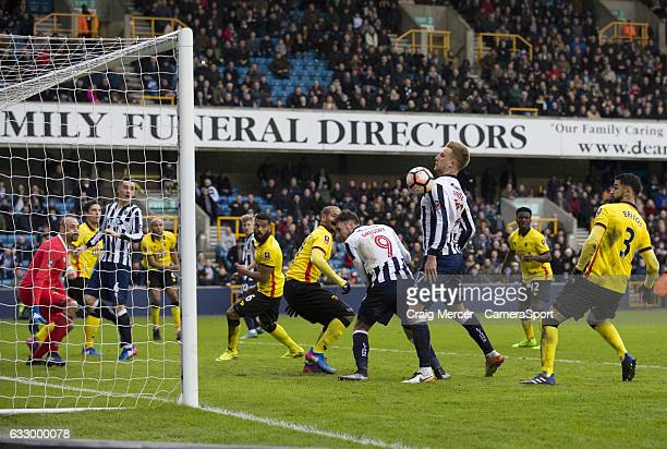 Millwall's Byron Webster puts the ball into the back of the net but its disallowed for handball during the Emirates FA Cup Fourth Round match between...