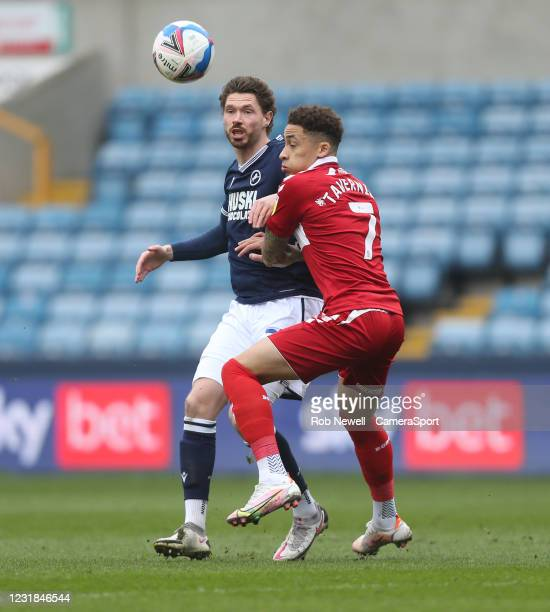 Millwall's George Evans and Middlesbrough's Marcus Tavernier during the Sky Bet Championship match between Millwall and Middlesbrough at The Den on...