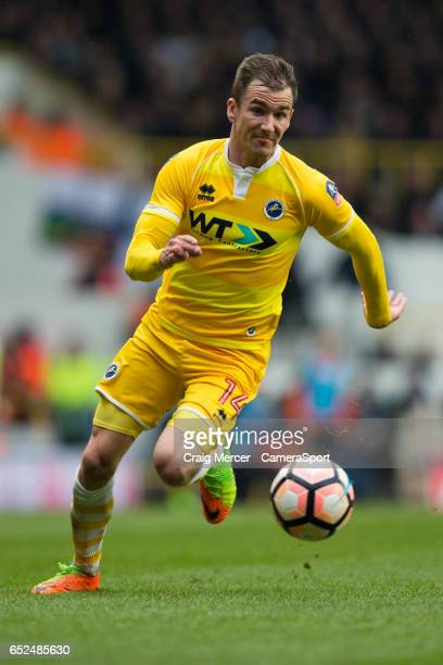 Millwall's Jed Wallace in action during the Emirates FA Cup Sixth Round match between Tottenham Hotspur and Millwall at White Hart Lane on March 12...