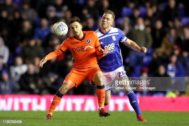 Millwall's Lee Gregory and Birmingham City's Michael Morrison battle for the ball during the Sky Bet Championship match at St Andrew's Trillion...