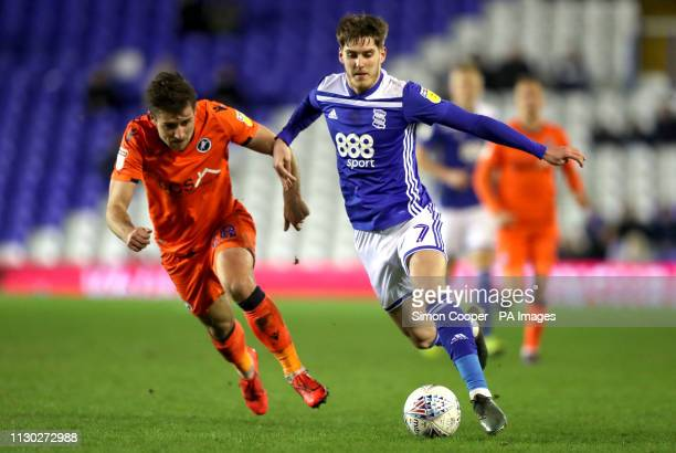 Millwall's Ryan Leonard and Birmingham City's Connor Mahoney battle for the ball during the Sky Bet Championship match at St Andrew's Trillion Trophy...