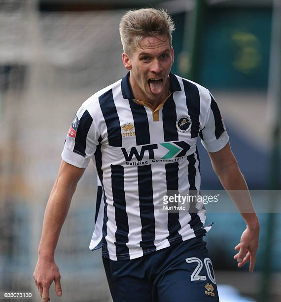 Millwall's Steve Morison celebrates his goal during The Emirates FA Cup Fourth Round match between Millwall against Watford at The Den on 29th Jan...