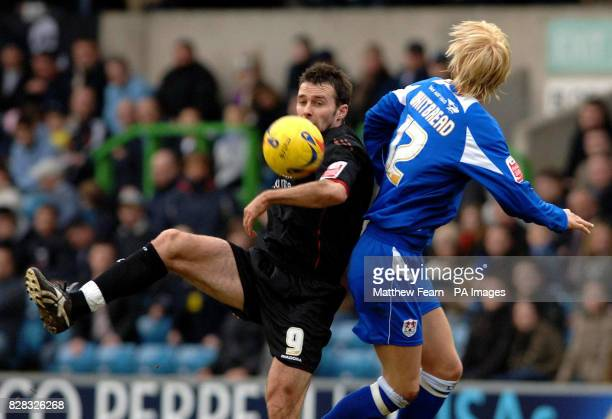Millwall's Zak Whitbread and Crystal Palace's Dougie Freedman in action during the CocaCola Championship match at the New Den Millwall Saturday...