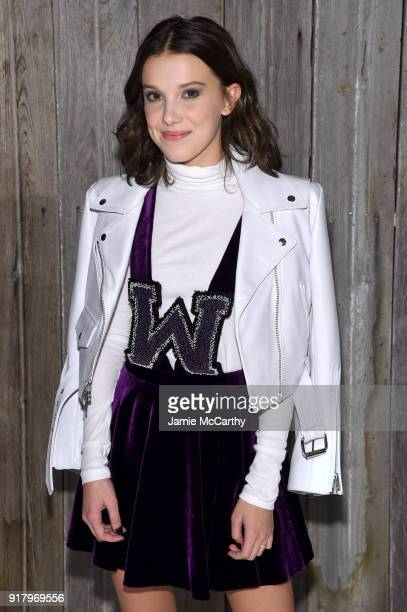 Milly Bobby Brown attends the Calvin Klein Collection during New York Fashion Week at New York Stock Exchange on February 13 2018 in New York City