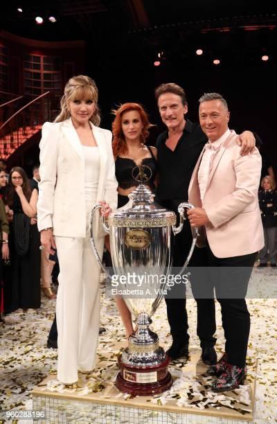 Milly Carlucci Alessandra Tripoli Cesare Bocci and Paolo Belli win the Italian TV show 'Ballando Con Le Stelle' at RAI Auditorium on May 19 2018 in...
