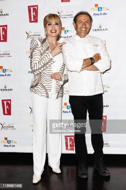 Milly Carlucci and Filippo La Mantia attend the F Magazine Party at Filippo La Mantia Oste e Cuoco restaurant on July 03, 2019 in Milan, Italy.