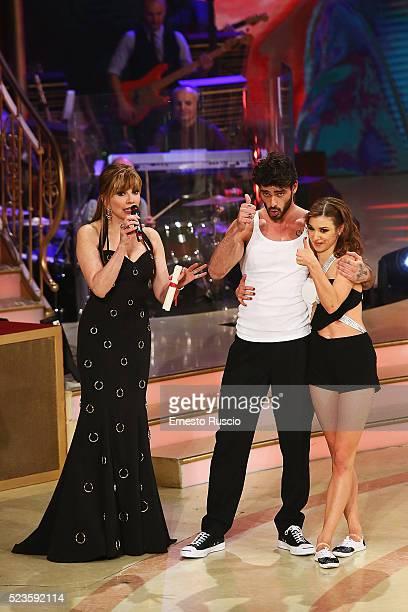 Milly Carlucci Michele Marrone and Ekaterina Vaganova attend during the 'Ballando Con Le Stelle' Tv Show at Auditorium RAI on April 23 2016 in Rome...