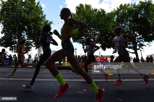 Milly Clark of Australia competes in the Women's Marathon during day three of the 16th IAAF World Athletics Championships London 2017 at The London...