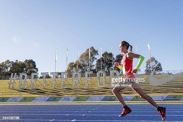 Milly Clark races to the finish of the Nike Women's Half Marathon at Sydney Olympic Park on July 3 2016 in Sydney Australia Milly will be competing...