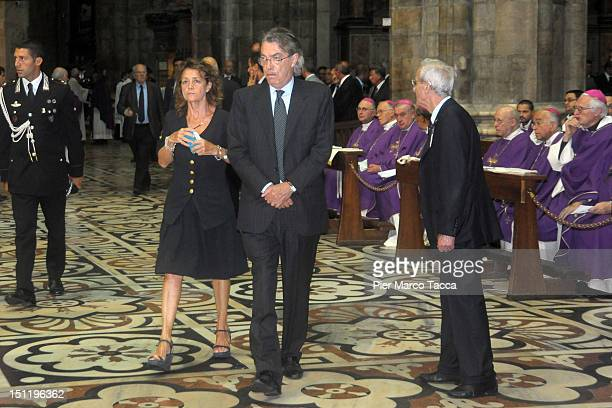 Milly Moratti and Massimo Moratti attend Cardinal Carlo Maria Martini funeral in Milan's Duomo cathedral on September 3 2012 in Milan Italy Thousands...