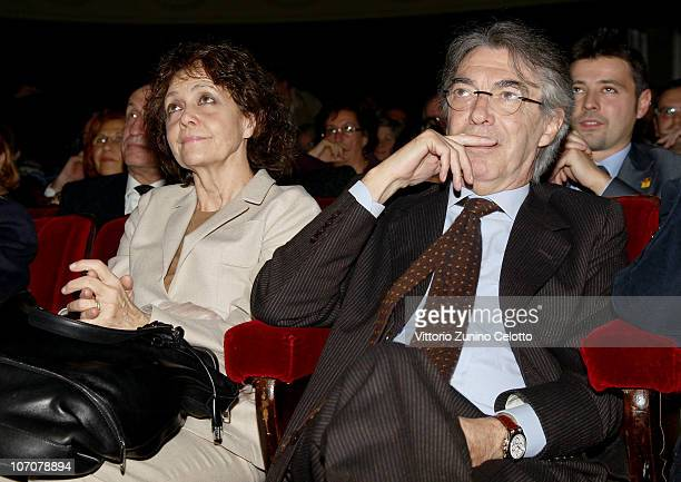 Milly Moratti and Massimo Moratti attend the 2010 Carlo Porta Award held at Teatro Manzoni on November 22 2010 in Milan Italy