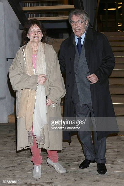 Milly Moratti and Massimo Moratti attend the 'Casa Di Bambola' Opening Night at Teatro Parenti on January 28 2016 in Milan Italy