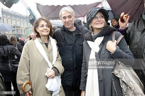 Milly Moratti Giuliano Pisapia Barbara Pollastrini attend the National demonstration to appeal for greater dignity for Italian women at Piazza...