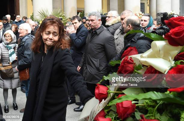 Milly Moratti greets the Gian Marco Moratti 's coffin in San Carlo square during the funeral ceremony of Gian Marco Moratti at San Carlo Church on...