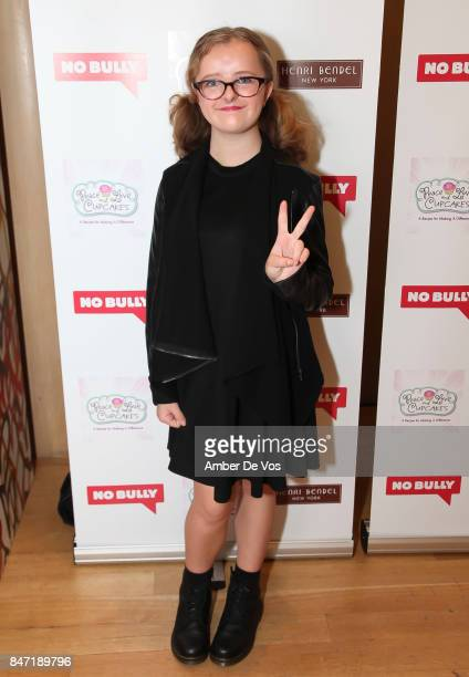 Milly Shapiro attends the Peace Love No Bully NYFW Benefit at Henri Bendel on September 14 2017 in New York City