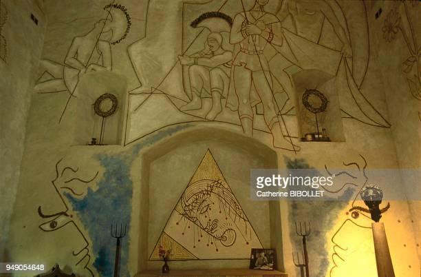 "Chapelle Saint-Blaise des simples, frescos by Jean Cocteau ""Christ with Spines"" and ""Christ resurrection"". Milly-La-Forêt: chapelle Saint-Blaise des..."