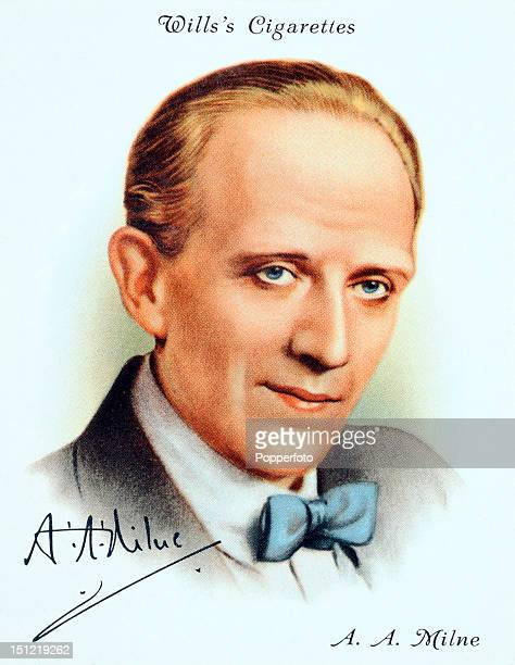 AA Milne British author circa 1939 This vintage illustration was originally published as a cigarette card in a series of British authors issued in...