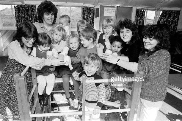 Milnsbridge playgroup celebrate their first anniversary with the purchase of a new climbing frame 24th January 1986