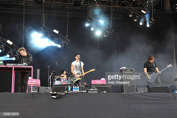 Milo Cordell Akiko Matsuura Robbie Furze and Adam Prendergast of The Big Pink perform on stage during the second day of Wireless Festival 2010 in...