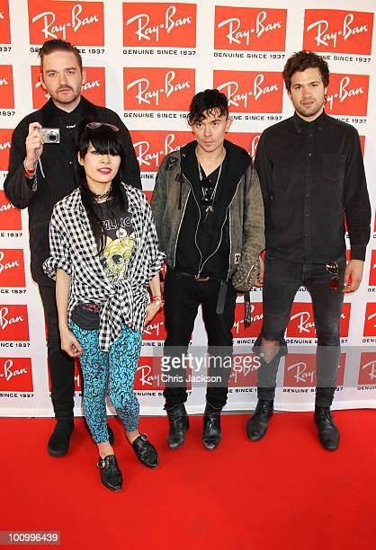 Milo Cordell Akiko Matsuura Robbie Furze and Leopold Ross of The Big Pink attend the RayBan Aviator The Essentials launch event at Scala on May 26...