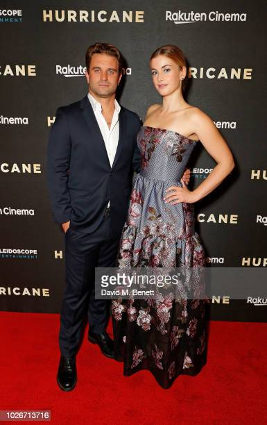 Milo Gibson and Stefanie Martini attend the UK Premiere of 'Hurricane' at Vue Leicester Square on September 4 2018 in London England
