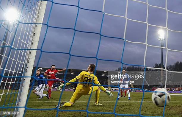 Milo Jojic of Koeln scores his team's fifth goal during the Bundesliga match between SV Darmstadt 98 and 1 FC Koeln at Stadion am Boellenfalltor on...