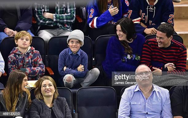 Milo Langdon Grey Gardner Liv Tyler and Dave Gardner attend Ottawa Senators vs New York Rangers game at Madison Square Garden on April 9 2015 in New...