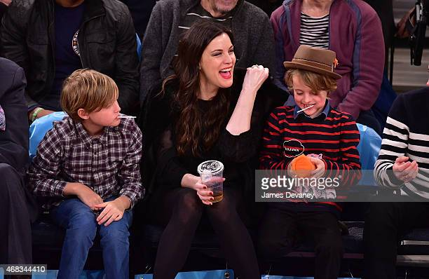 Milo Langdon Liv Tyler and Grey Gardner attend Brooklyn Nets vs New York Knicks game at Madison Square Garden on April 1 2015 in New York City