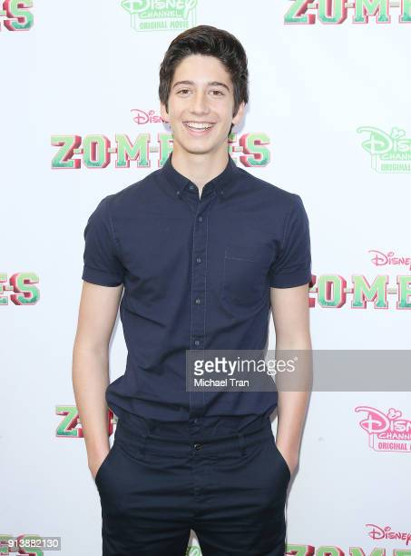 Milo Manheim attends the Los Angeles premiere for Disney Channel's Zombies held at Walt Disney Studio Lot on February 3 2018 in Burbank California