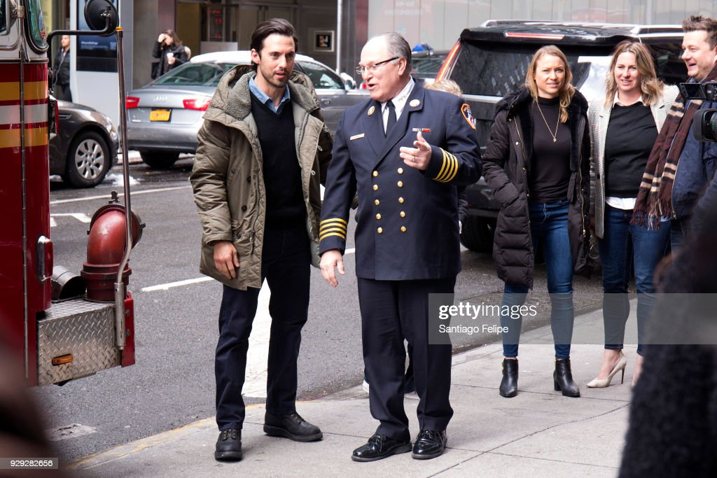 Milo Ventimiglia and Assistant FDNY Chief Rogar Sackowich teams up with the NYFD and Duracell for fire safety on March 8, 2018 in New York City.