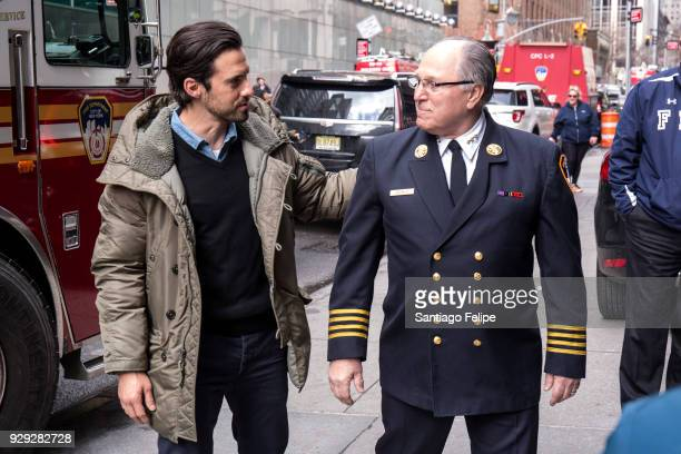 Milo Ventimiglia and Assistant FDNY Chief Rogar Sackowich teams up with the NYFD and Duracell for fire safety on March 8 2018 in New York City