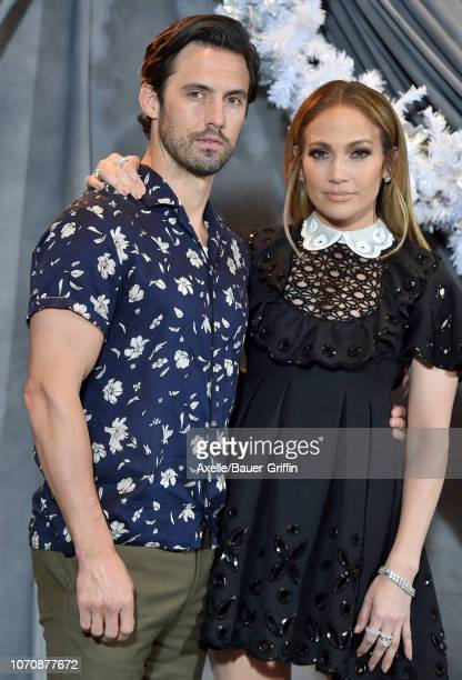 Milo Ventimiglia and Jennifer Lopez attend the photo call for STX Films' 'Second Act' at Four Seasons Hotel Los Angeles at Beverly Hills on December...