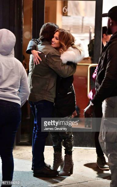 Milo Ventimiglia and Jennifer Lopez seen on location for 'Second Act' in the Bronx on November 6 2017 in New York City
