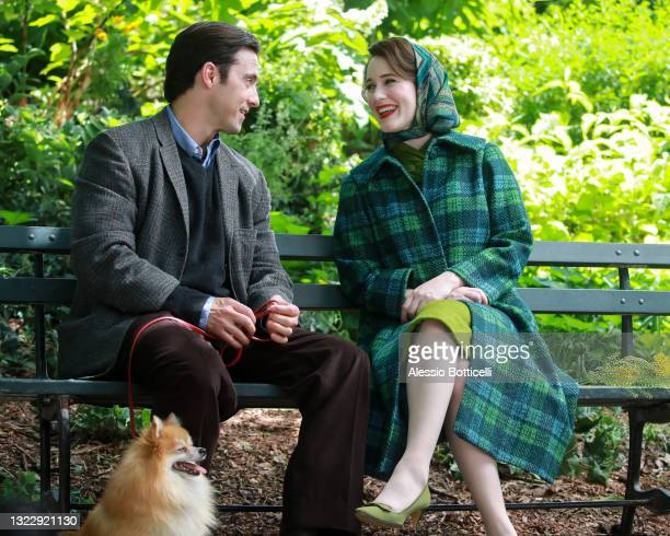 """Milo Ventimiglia and Rachel Brosnahan are seen filming """"The Marvelous Mrs. Maisel"""" on June 10, 2021 in New York City."""