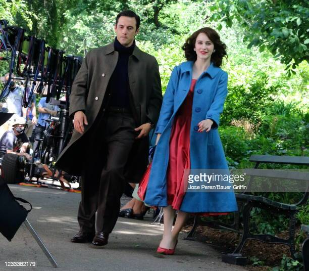 """Milo Ventimiglia and Rachel Brosnahan are seen on the set of """"The Marvelous Mrs Maiselì on June 10, 2021 in New York City."""