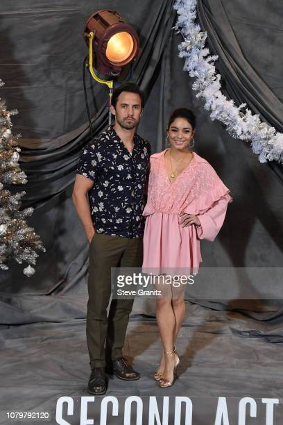 Milo Ventimiglia and Vanessa Hudgens attend the photo call For STX Films' 'Second Act' at Four Seasons Hotel Los Angeles at Beverly Hills on December...