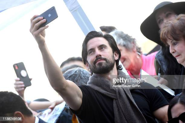 Milo Ventimiglia attends the ceremony honoring Mandy Moore with Star on the Hollywood Walk of Fame on March 25 2019 in Hollywood California