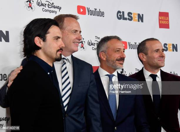 Milo Ventimiglia honorary cochair Robert Greenblatt David Kohan and Max Mutchnick at the 2017 GLSEN Respect Awards at the Beverly Wilshire Four...
