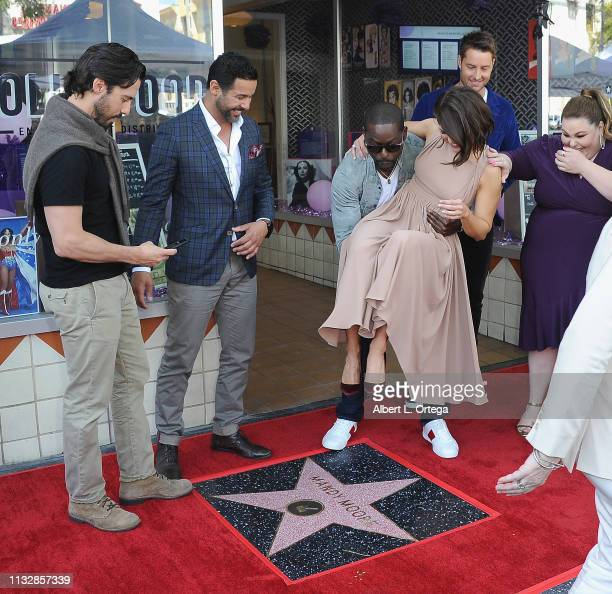 Milo Ventimiglia Jon Huertas Sterling K Brown Mandy Moore Justin Hartley and Chrissy Metz pose together at Mandy Moore's Star Ceremony On The...