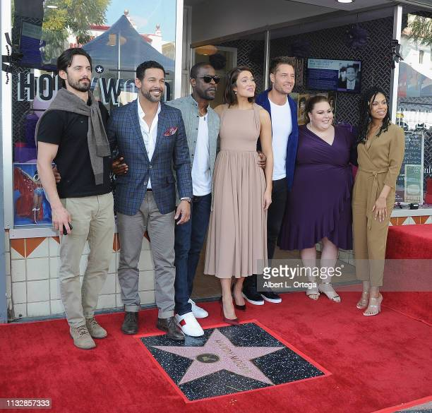 Milo Ventimiglia Jon Huertas Sterling K Brown Mandy Moore Justin Hartley Chrissy Metz and Kelechi Watson pose together at Mandy Moore's Star Ceremony...